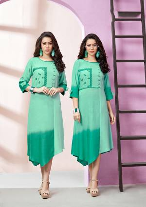 Grab This Pretty Simple And Elegant Looking Readymade Kurti In Sea Green Fabricated On Rayon Slub. This Kurti Is Light In Weight And Easy To Carry All Day Long.