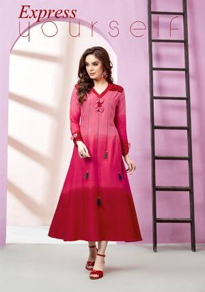 Here Is A Very Shaded Readymade Designer Kurti In Pink And Red Color Fabricated On Rayon Slub. This Pretty Kurti Is Light Weight And Easy To Carry All Day Long.