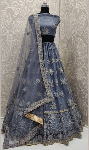 Get Ready For The Upcoming Wedding Season With This Very Beautiful And Heavy Designer Lehenga Choli In All Over Dark Grey Color. This Heavy Embroidered Lehenga Choli Is Fabricated On Net Beautified With Tone To Tone Embroidery.