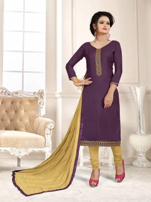 Here Is A Pretty Dress Material For Your Casual Or Semi-Casual Wear In Purple And Beige Color. Its Top Is Fabricated On Cotton Slub Paired With Cotton Bottom And Chiffon Fabricated Dupatta. Get This Stitched As Per Your Desired Fit And Comfort.