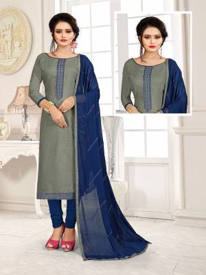 Get This Dress Material For Your Casual Or Semi-Casual Wear In Blue And Grey Color And Get This Stitched As Per Your Desired Fit And Comfort. Its Thread Embroidered Top IS Fabricated On Cotton Slub Paired With Cotton Bottom And Chiffon Fabricated Dupatta beautified With Thread Work.