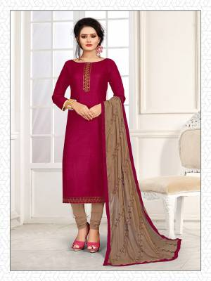 Simple and Elegant Looking Suit Is Here In Magenta Pink And Sand Grey Color. This Dress Material Is Cotton Based Paired With Chiffon Fabricated Dupatta. Its Top And Dupatta Are Beautified With Subtle Thread Work Giving An Elegant Look.
