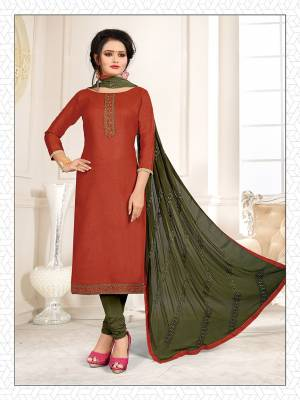 Simple and Elegant Looking Suit Is Here In Rust Orange And Dark Green Color. This Dress Material Is Cotton Based Paired With Chiffon Fabricated Dupatta. Its Top And Dupatta Are Beautified With Subtle Thread Work Giving An Elegant Look.