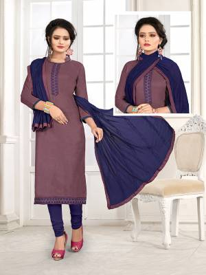 If Those Readymade Suit Does Not Lend You The Desired Comfort, Than Grab This Pretty Dress Material In Mauve And Dark Blue And Get This Stitched As Per Your Desired Fit And Comfort. Its Top Is Fabricated On Cotton Slub Paired With Cotton Bottom And Chiffon Fabricated Dupatta.