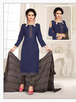 Get This Dress Material For Your Casual Or Semi-Casual Wear In Navy Blue And Dark Grey Color And Get This Stitched As Per Your Desired Fit And Comfort. Its Thread Embroidered Top IS Fabricated On Cotton Slub Paired With Cotton Bottom And Chiffon Fabricated Dupatta beautified With Thread Work.