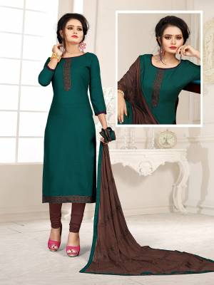If Those Readymade Suit Does Not Lend You The Desired Comfort, Than Grab This Pretty Dress Material In Teal Blue And Dark Brown And Get This Stitched As Per Your Desired Fit And Comfort. Its Top Is Fabricated On Cotton Slub Paired With Cotton Bottom And Chiffon Fabricated Dupatta.