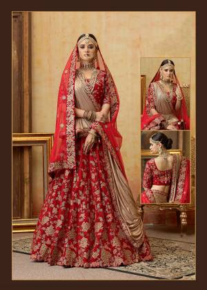 Be The Prettiest Bride Wearing This Very Beautiful And Heavy Embroidered Designer Bridal Lehenga Choli In Red Color Paired With Red Colored Dupatta. This Lehenga Choli Is Velvet Based Paired With Net Fabricated Dupatta. Buy This Beautiful Lehenga Choli Now.