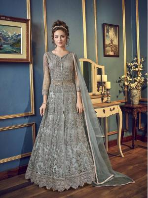 Rich And Elegant Looking Dual Look Indo-Western Dress In Grey Color. Its Jacket Is Fabricated On Net Paired With Embroidered Santoon Pants And Satin Lehenga With An Elegant Chiffon Fabricated Dupatta.