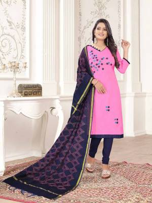If Those Readymade Suit Does Not Lend You The Desired Comfort, Than Grab This Pretty Dress Material In Pink And Navy Blue Color And Get This Stitched As Per Your Desired Fit And Comfort. Its Top Is Fabricated On Cotton Slub Paired With Cotton Bottom And Cotton Silk Fabricated Dupatta.