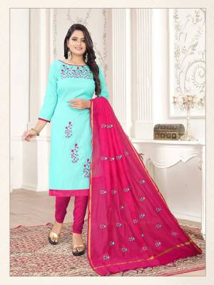 Simple and Elegant Looking Suit Is Here In Aqua Blue And Dark Pink Color. This Dress Material Is Cotton Based Paired With Cotton Silk Fabricated Dupatta. Its Top And Dupatta Are Beautified With Subtle Thread Work Giving An Elegant Look.