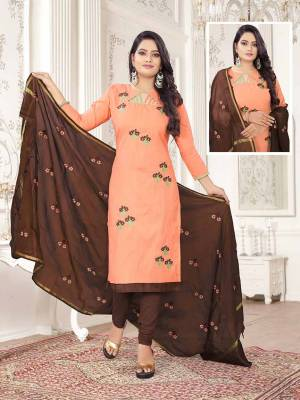 Get This Dress Material For Your Casual Or Semi-Casual Wear In Light Orange And Brown Color And Get This Stitched As Per Your Desired Fit And Comfort. Its Thread Embroidered Top Is Fabricated On Cotton Slub Paired With Cotton Bottom And Cotton Silk Fabricated Dupatta beautified With Thread Work.