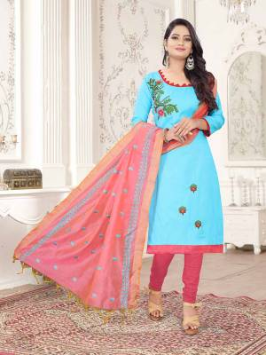Here Is A Pretty Dress Material For Your Casual Or Semi-Casual Wear In Sky Blue And Pink Color. Its Top Is Fabricated On Cotton Slub Paired With Cotton Bottom And Cotton Silk Fabricated Dupatta. Get This Stitched As Per Your Desired Fit And Comfort.