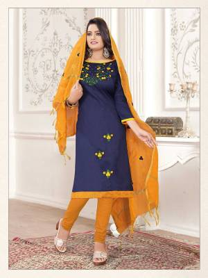 If Those Readymade Suit Does Not Lend You The Desired Comfort, Than Grab This Pretty Dress Material In Navy Blue And Musturd Yellow Color And Get This Stitched As Per Your Desired Fit And Comfort. Its Top Is Fabricated On Cotton Slub Paired With Cotton Bottom And Cotton Silk Fabricated Dupatta.
