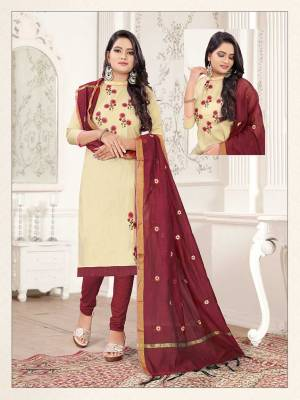 Simple and Elegant Looking Suit Is Here In Cream And Maroon Color. This Dress Material Is Cotton Based Paired With Cotton Silk Fabricated Dupatta. Its Top And Dupatta Are Beautified With Subtle Thread Work Giving An Elegant Look.