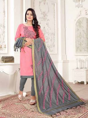Get This Dress Material For Your Casual Or Semi-Casual Wear In Light Pink And Grey Color And Get This Stitched As Per Your Desired Fit And Comfort. Its Thread Embroidered Top Is Fabricated On Cotton Slub Paired With Cotton Bottom And Cotton Silk Fabricated Dupatta beautified With Thread Work.