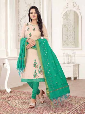 Get This Dress Material For Your Casual Or Semi-Casual Wear In Off-White And Sea Green Color And Get This Stitched As Per Your Desired Fit And Comfort. Its Thread Embroidered Top Is Fabricated On Cotton Slub Paired With Cotton Bottom And Cotton Silk Fabricated Dupatta beautified With Thread Work.