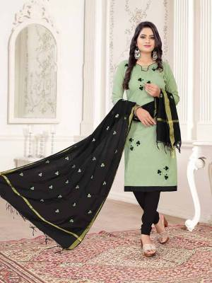 Here Is A Pretty Dress Material For Your Casual Or Semi-Casual Wear In Pastel Green And Black Color. Its Top Is Fabricated On Cotton Slub Paired With Cotton Bottom And Cotton Silk Fabricated Dupatta. Get This Stitched As Per Your Desired Fit And Comfort.