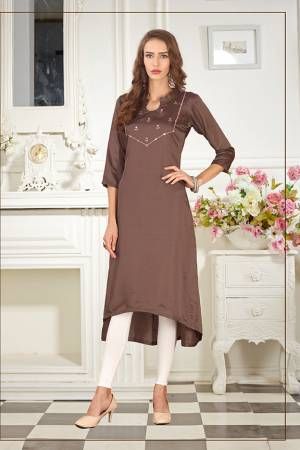 Elegant Looking Readymade Straight Kurti Is Here In Brown Color Fabricated On Soft Satin Silk Beautified With Thread Work. You Can Pair This Up Same Or Contrasting Colored Leggings Or Pants.