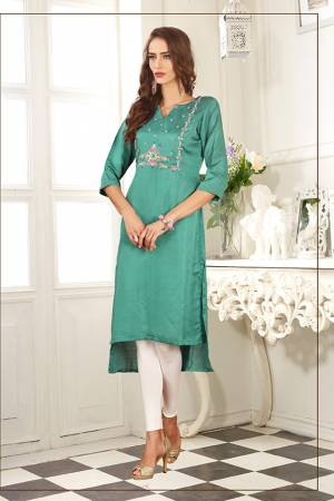 For Your Semi-Casuals, Grab This Readymade Pretty Kurti In Sea Green Color Fabricated On Soft Satin Silk. It Is Beautified With Contrasting Thread Work and Also It Is Light Weight And Easy To Carry All Day Long.