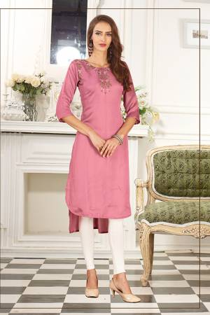Look Pretty In This Readymade High Low Patterend Straight Kurti In Pink Color. It Is Fabricated On Soft Satin Silk Beautified With Thread Work.