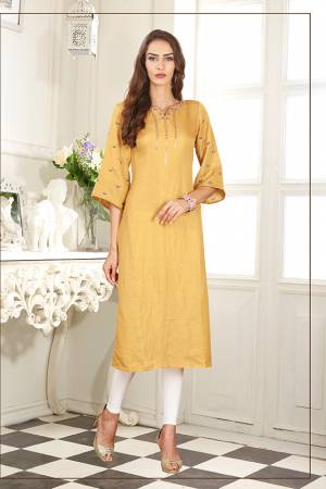 Celebrate This Festive Season With Beauty And Comfort Wearing This Readymade Straight Cut Kurti In Musturd Yellow Color Fabricated On Soft Satin Silk. It Has Pretty Elegant Embroidery Giving An Enhanced Look To The Kurti.