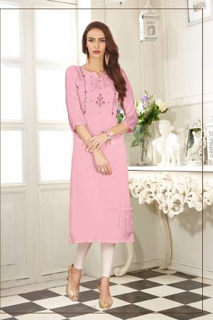 Look Pretty In This Readymade Straight Kurti In Light Pink Color. It Is Fabricated On Soft Satin Silk Beautified With Thread Work.