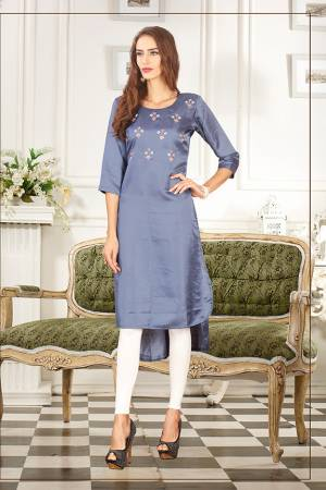 Elegant Looking Readymade Straight Kurti Is Here In Steel Blue Color Fabricated On Soft Satin Silk Beautified With Thread Work. You Can Pair This Up Same Or Contrasting Colored Leggings Or Pants.