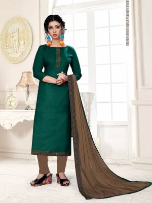 Enhance Your Personality Wearing This Designer Straight Suit In Pine Green Color Paired With Contrasting Brown Colored Bottom and Dupatta. This Dress Material Is Cotton Based Paired With Chiffon Fabricated Dupatta. Buy This Dress Material Now.