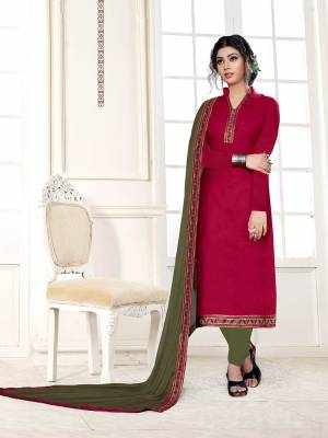 Celebrate This Festive Season With Beauty And Comfort Wearing This Designer Suit In Dark Pink Color Paired With Contrasting Olive Green Colored Bottom And Dupatta. This Dress Material Is Cotton Based Paired With Chiffon Fabricated Dupatta.