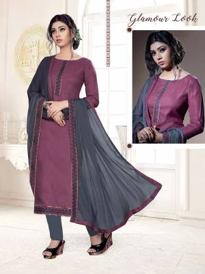 Lovely Color Pallete Is Here With This Dress Material In Light Purple Color Paired With Contrasting Grey Colored Bottom And Dupatta. This Dress Material Is Cotton Bottom Paired With Chiffon Fabricated Dupatta, Get This Stitched As Per Your Desired Fit And Comfort.