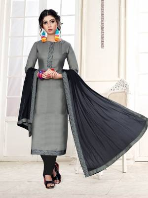 Rich And Elegant Looking Dress Material Is Here In Grey Color Paired With Contrasting Black Colored Bottom And Dupatta. Its Top Is Fabricated on Cotton Slub Paired With Cotton Bottom And Chiffon Fabricated Dupatta.