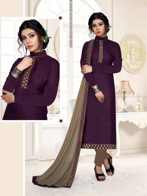 Celebrate This Festive Season With Beauty And Comfort Wearing This Designer Suit In Purple Color Paired With Contrasting Sand Grey Colored Bottom And Dupatta. This Dress Material Is Cotton Based Paired With Chiffon Fabricated Dupatta.