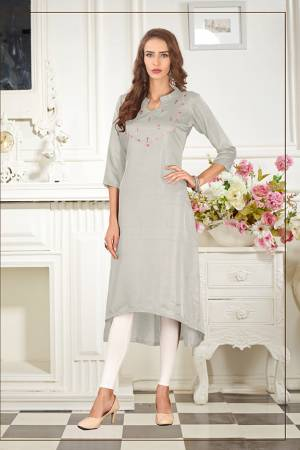 Elegant Looking Readymade Straight Kurti Is Here In Light Grey  Color Fabricated On Soft Satin Silk Beautified With Thread Work. You Can Pair This Up Same Or Contrasting Colored Leggings Or Pants.