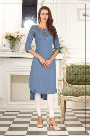 Look Pretty In This Readymade High Low Patterend Straight Kurti In Blue Color. It Is Fabricated On Soft Satin Silk Beautified With Thread Work.