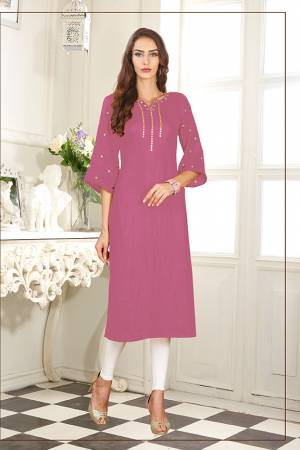 Celebrate This Festive Season With Beauty And Comfort Wearing This Readymade Straight Cut Kurti In Pink Color Fabricated On Soft Satin Silk. It Has Pretty Elegant Embroidery Giving An Enhanced Look To The Kurti.
