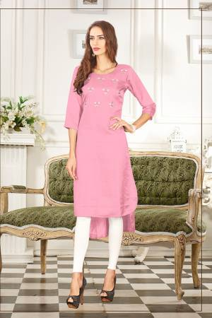 Elegant Looking Readymade Straight Kurti Is Here In Light Pink Color Fabricated On Soft Satin Silk Beautified With Thread Work. You Can Pair This Up Same Or Contrasting Colored Leggings Or Pants.
