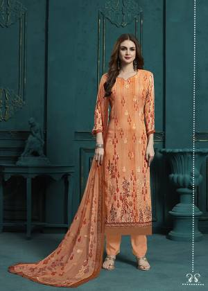 Celebrate This Festive Season With Beauty And Comfort Wearing This Designer Digital Printed Straight Cut Suit In All Over Orange Color. Its Top and Dupatta are Georgette Based Beautified With Resham Work Paired With Santoon Fabricated Bottom. Buy This Semi-Stitched Suit Now.