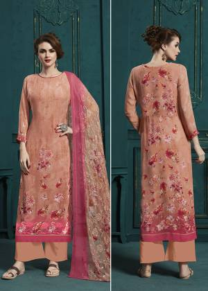 A Must Have Shade In Every Womens Wardrobe Is Here With This Designer Straight Suit In Dark Pink Color Paired With Dark Peach And Pink Colored Dupatta. Its Digital Printed Top And Dupatta Are Georgette Based Beautified With Resham Embroidery. Buy Now.