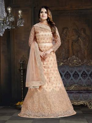 Here Is A Very Designer Lehenga Choli To Add Into Your Wardrobe For The Upcoming Wedding Season In Light Peach. Its Pretty Blouse And Lehenga Are Fabricated On Net With Satin Inner Paired With Net Fabricated Dupatta. Its Pretty Color And Heavy Embroidery Will Definitely Earn You Lots Of Compliments From Onlookers.