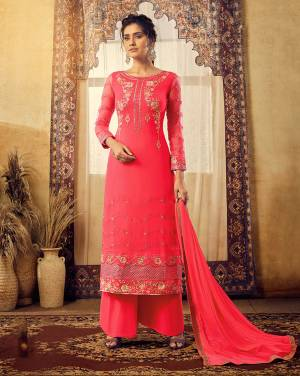 Bright And Visually Appealing Shade Is Here With This Heavy Designer Straight Cut Suit In All Over Dark Pink Color. Its Top Is Fabricated On Georgette Beautified With Heavy Embroidery Paired With Santoon Bottom And Chiffon Fabricated Dupatta.