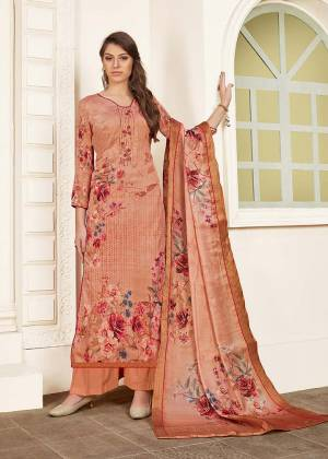 Look Pretty In This Very Beautiful Designer Straight Suit In Peach Color Paired With Peach Colored Bottom And Dupatta. Its Top Is Fabricated Modal Satin Paired With Satin Bottom And Chiffon Dupatta. It IS Beautified With Digital Prints And Thread Work. Buy Now.