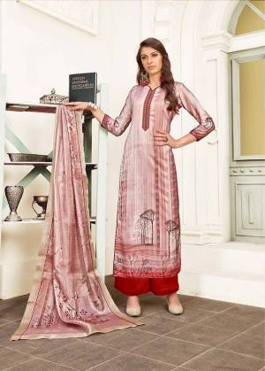 Flaunt Your Rich And Elegant Taste In This Designer Straight Suit In Baby Pink Colored Top And Dupatta Paired With Red Colored Bottom. Its Top Is Fabricated On Modal Satin Paired With Satin Bottom And Chiffon Fabricated Dupatta. It Is Beautified With Digital Prints And Thread Work.