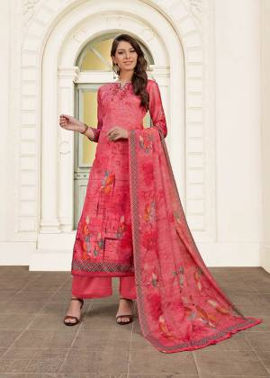 Shine Bright Wearing This Designer Straight Cut Suit In All Over Dark Pink Color. Its Top Is Fabricated On Modal Satin Paired With Satin Bottom And Chiffon Fabricated Dupatta. Its Fabric Is Soft Towards Skin And Easy To Carry All Day Long.