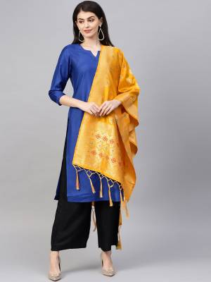 Enhance Your Look of gown and lehenga choli Or A Simple Kurti With Latest Trends Of?Banarasi Dupatta Beautified With Attractive Weave All Over. You Can Pair This Up With Any Kind Of Ethnic Attire And In Same Or Contrasting Colored Attire.