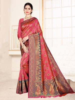 Grab This Designer Silk Based Saree In Dark Pink Color Paired With Dark Pink Colored Blouse. This Saree And Blouse Are Fabricated On Banarasi Art Silk Beautified With Weave All Over. Buy Now.