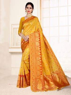 Grab This Designer Silk Based Saree In Musturd Yellow Color Paired With Dark Pink Colored Blouse. This Saree And Blouse Are Fabricated On Banarasi Art Silk Beautified With Weave All Over. Buy Now.