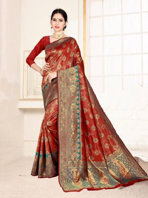 Grab This Designer Silk Based Saree In Maroon Color Paired With Dark Pink Colored Blouse. This Saree And Blouse Are Fabricated On Banarasi Art Silk Beautified With Weave All Over. Buy Now.