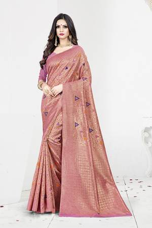 Shine Bright In This Designer Silk Based Saree In Pink Color Paired With Pink Colored Blouse. This Saree Is Fabricated On Weaving Silk Paired With Art Silk Fabricated Blouse. It Has Rich Fabric Beautified With Detailed Weave All Over. Buy Now.