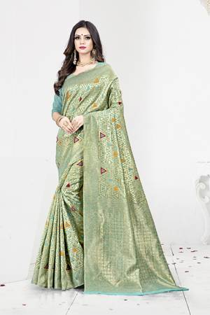 Shine Bright In This Designer Silk Based Saree In Turquoise Blue Color Paired With Turquoise Blue Colored Blouse. This Saree Is Fabricated On Weaving Silk Paired With Art Silk Fabricated Blouse. It Has Rich Fabric Beautified With Detailed Weave All Over. Buy Now.