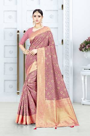 Look Pretty In This Designer Silk Based Pink Colored Floral Saree?Paired With Pink Colored Blouse. This Saree Is Fabricated On Weaving Silk Paired With Art Silk Fabricated Blouse. Buy This Saree Now